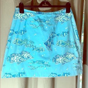 Vintage Lily Pulitzer skirt  beautiful blue fish
